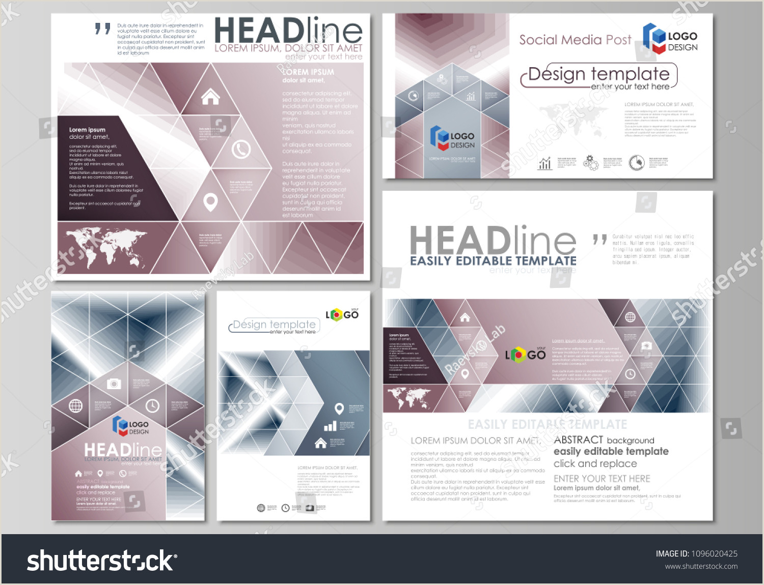 Social Network Website Template Social Media Posts Set Business Templates Stock Vector