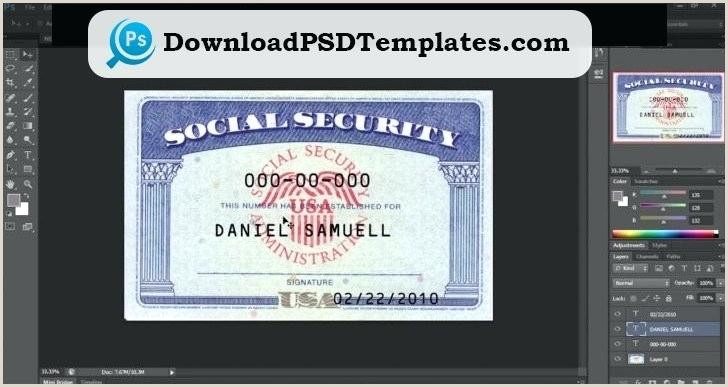 Social Security Number Template Templates Design Card Pdf
