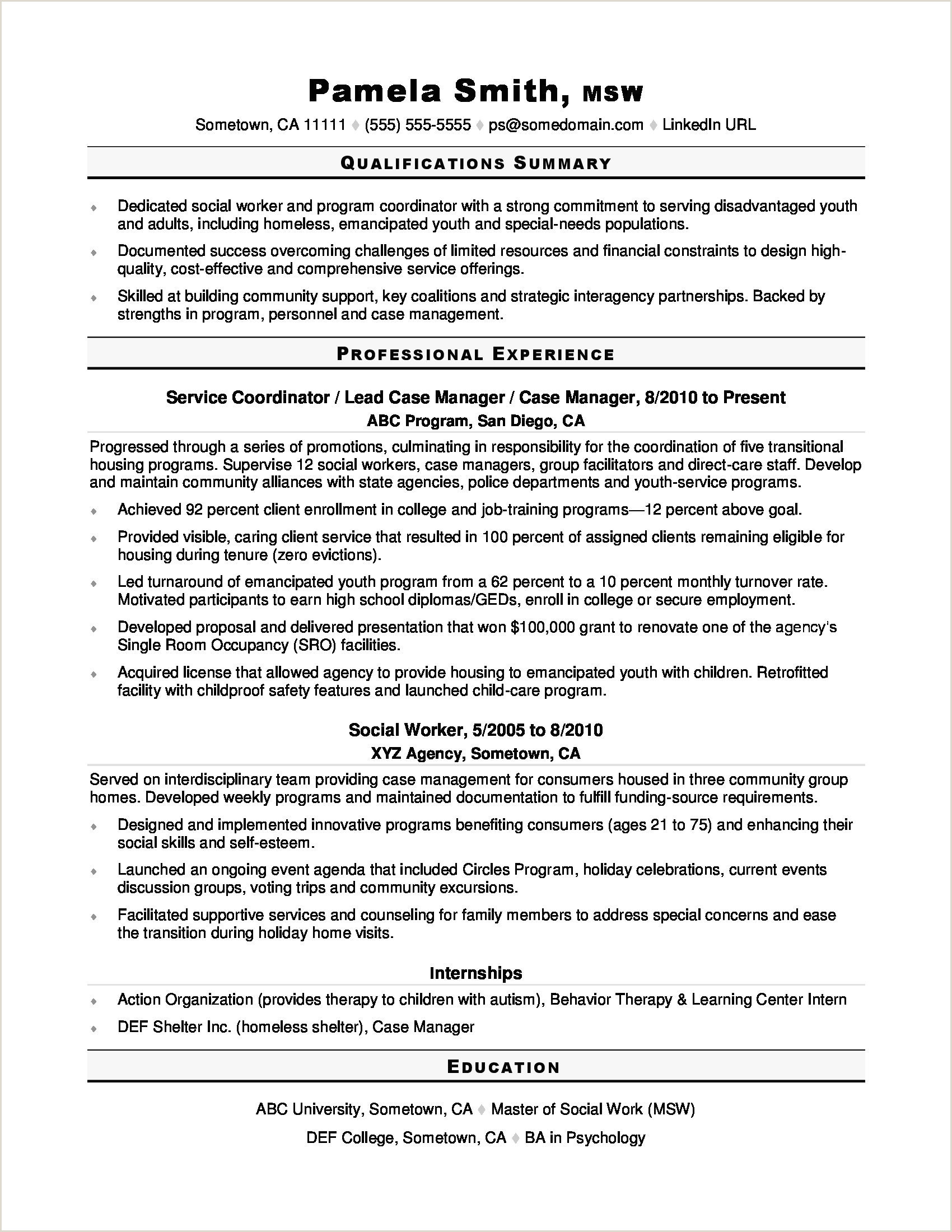 Awesome Resume Objective social Work