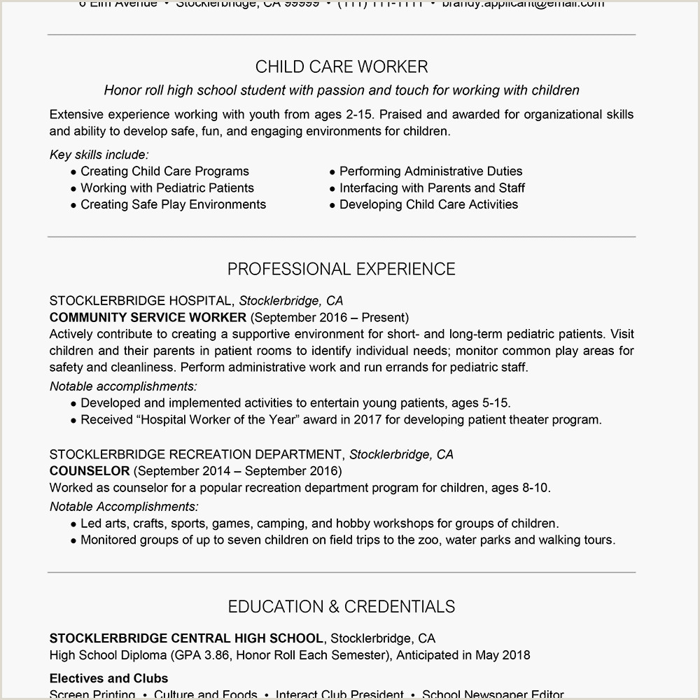 Social Work Resume Objective Examples High School Resume Example with Summary
