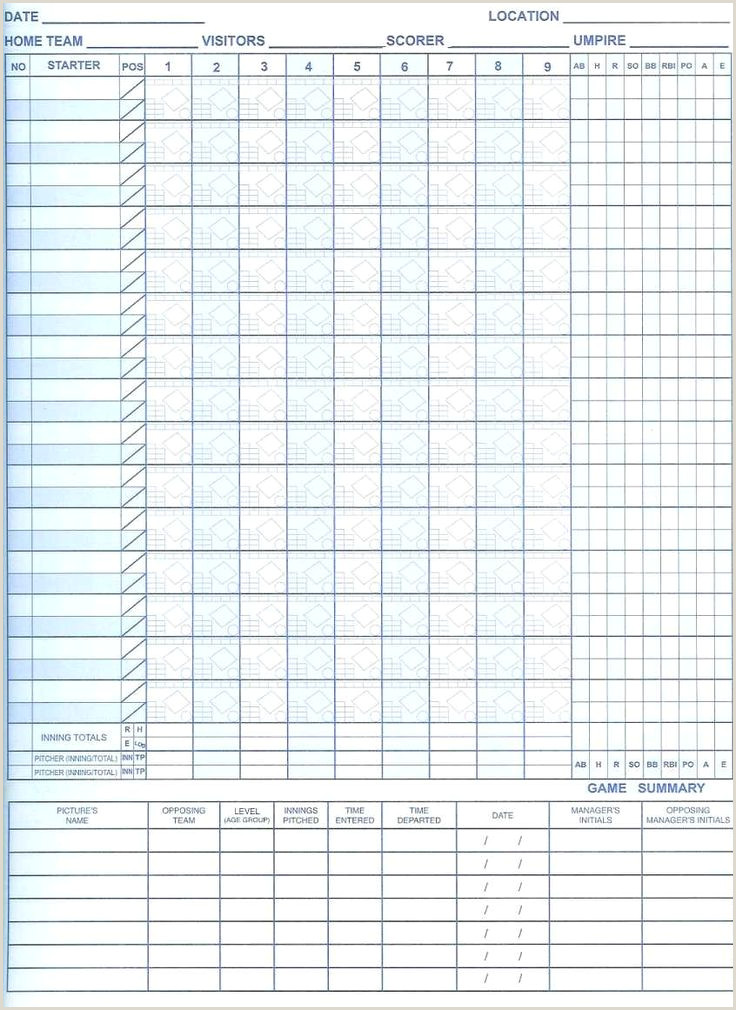Softball Scorebook Pages Pdf August 2018 – Printabletemplates
