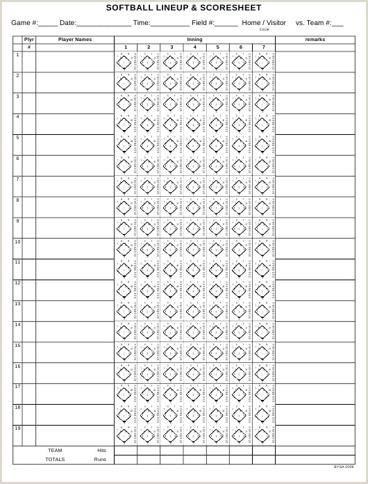 Softball Scorebook Pages Pdf Score Sheet Template