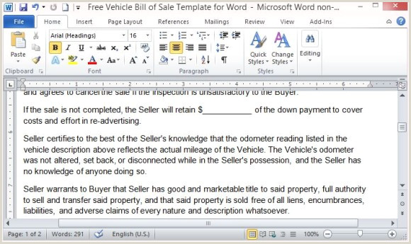 Free Vehicle Bill Sale Template For Word