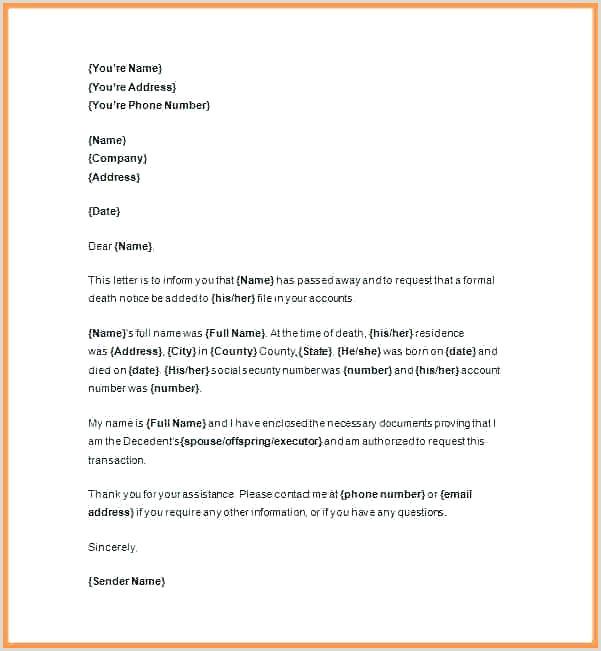 Solicitation Letter for Death Executor Letter Template – Srmuniv