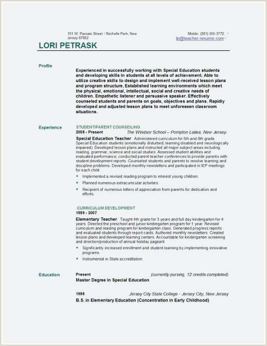 Special Education Teacher Resume Examples Special Education Teacher Resume