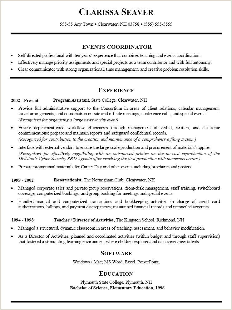 Event Planner Resume Objective] Planner Resume Example
