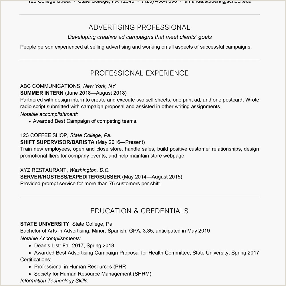 Sports Management Resume Samples College Student Resume Example