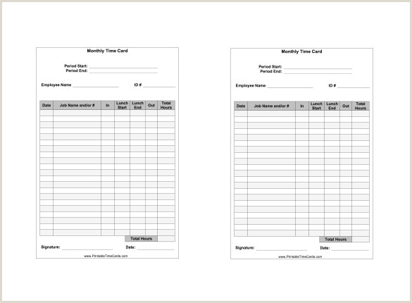 7 Printable Time Card Templates DOC Excel PDF