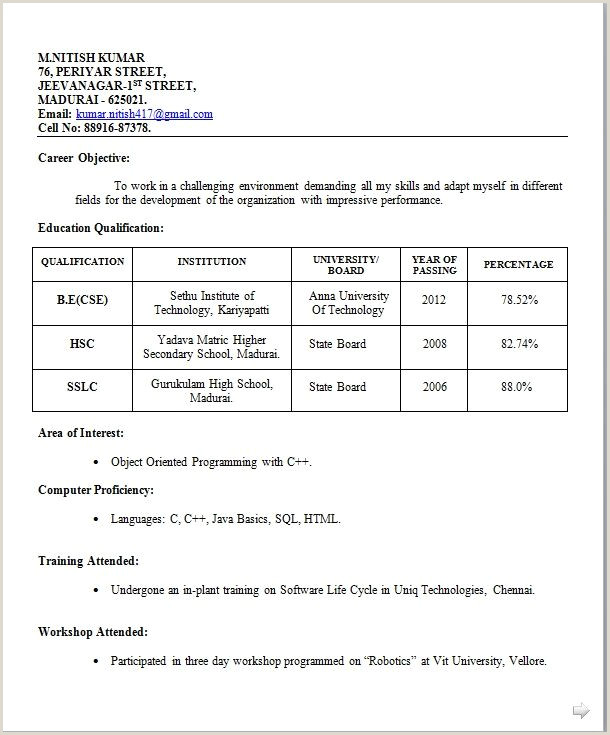 Standard Curriculum Vitae format Pdf Image Result for Simple Biodata format for Job Fresher