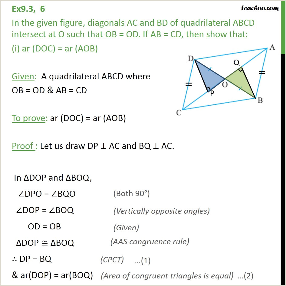 Standard Cv format Bd Doc Ex 9 3 6 In Figure Diagonals Ac and Bd Of Quadrilateral