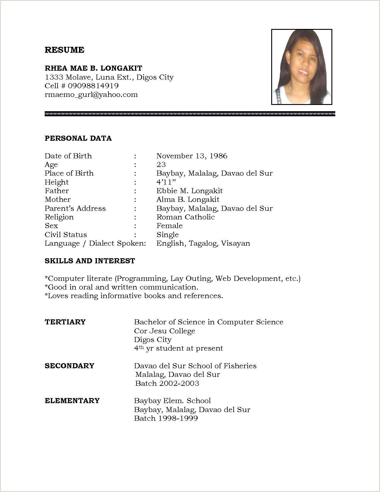 Standard Cv format Bd Pdf for Job 3 Resume format