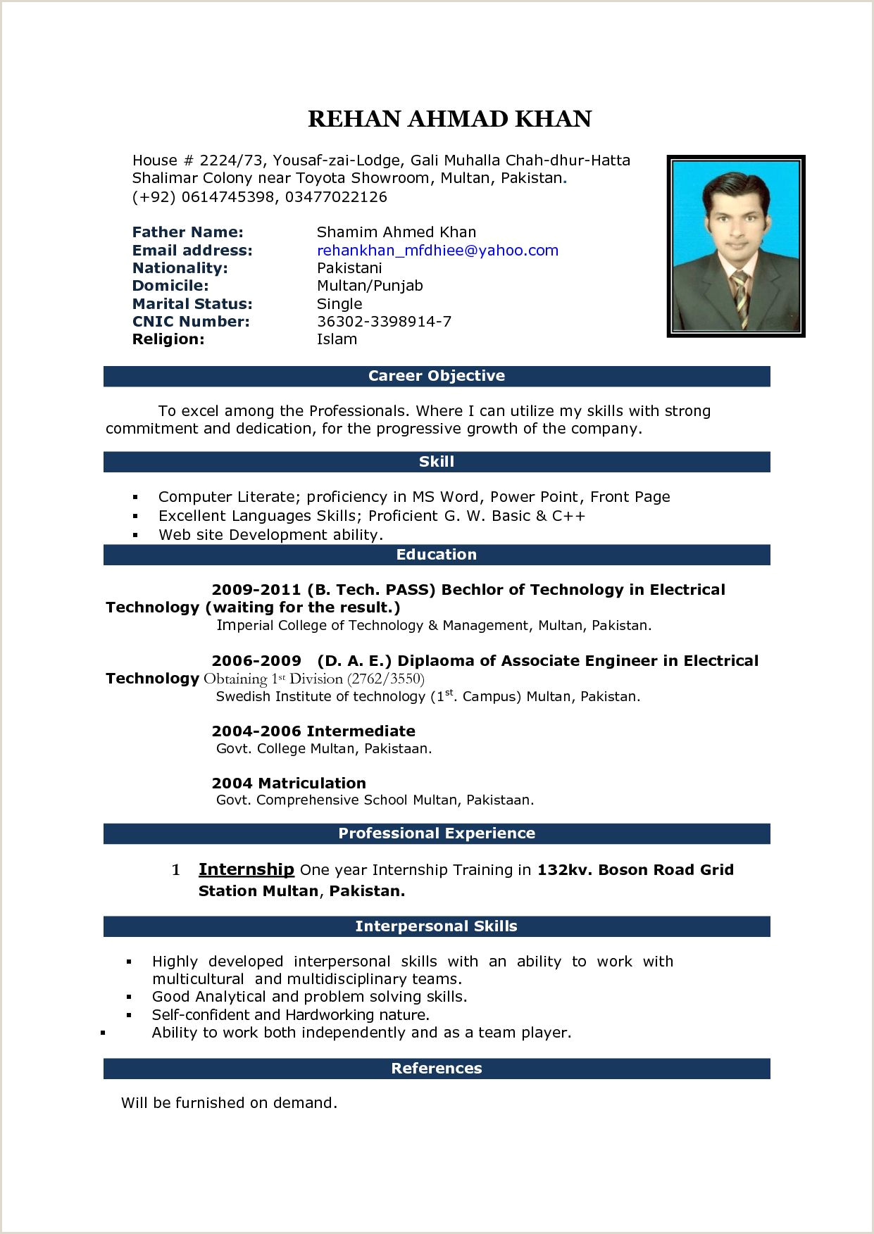 Standard Cv format Doc Bd Pin On Cv