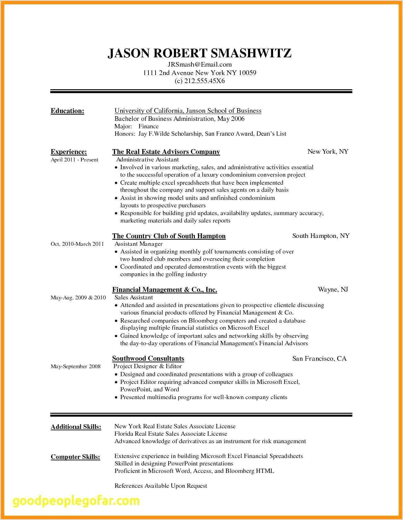 Resume Sample Format Doc New Resume Template Doc New Resume