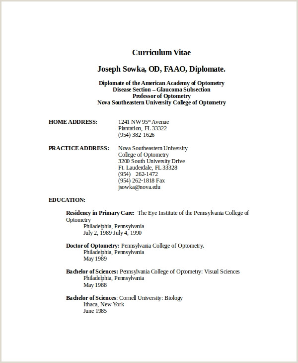 Standard Cv format Example Doc Optometrist Resume Template 7 Free Word Pdf Documents
