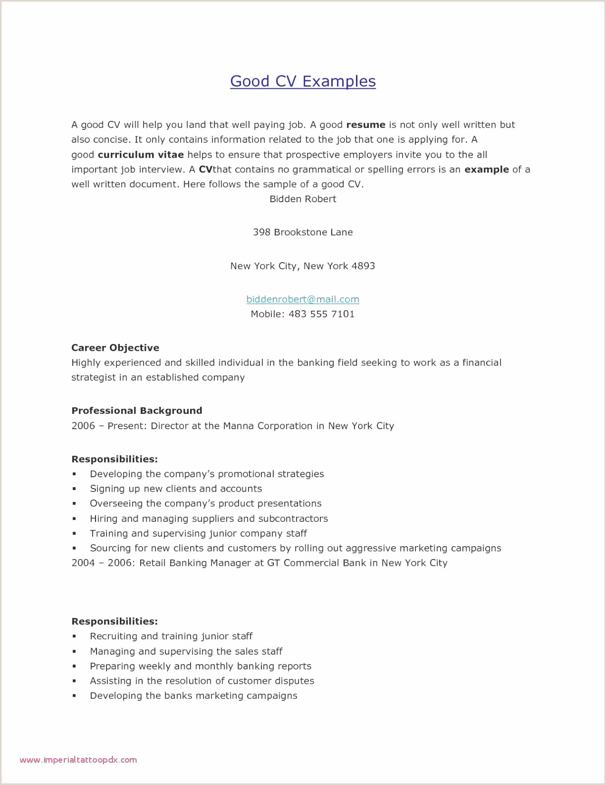 Standard Cv format for Bank Job Cv Career échantillon Example A Job Resume New Inspirational