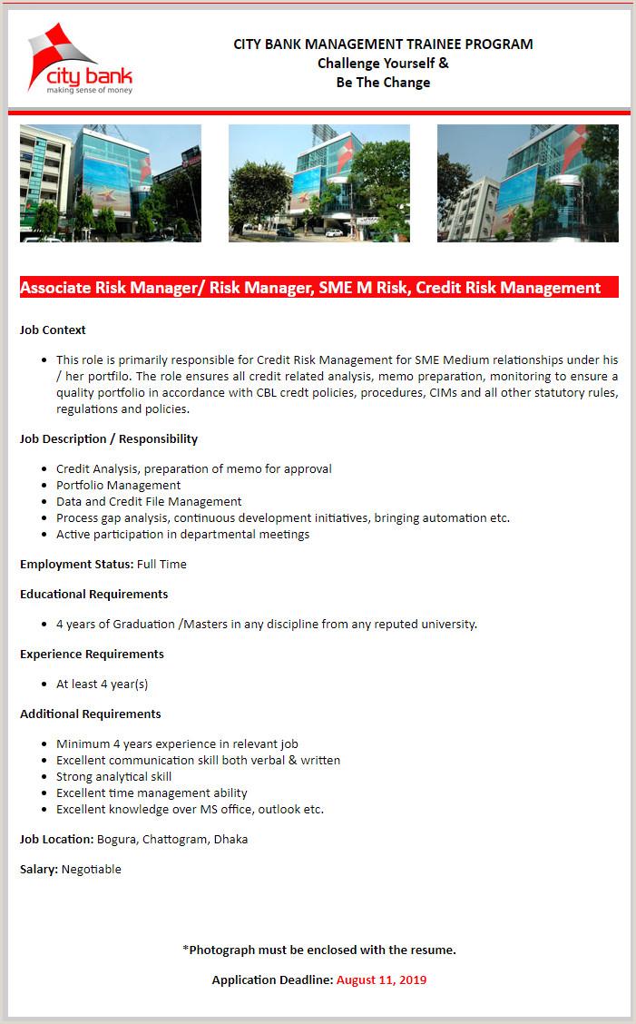 Standard Cv format for Bank Job In Bangladesh City Bank Limited Job Circular 2019