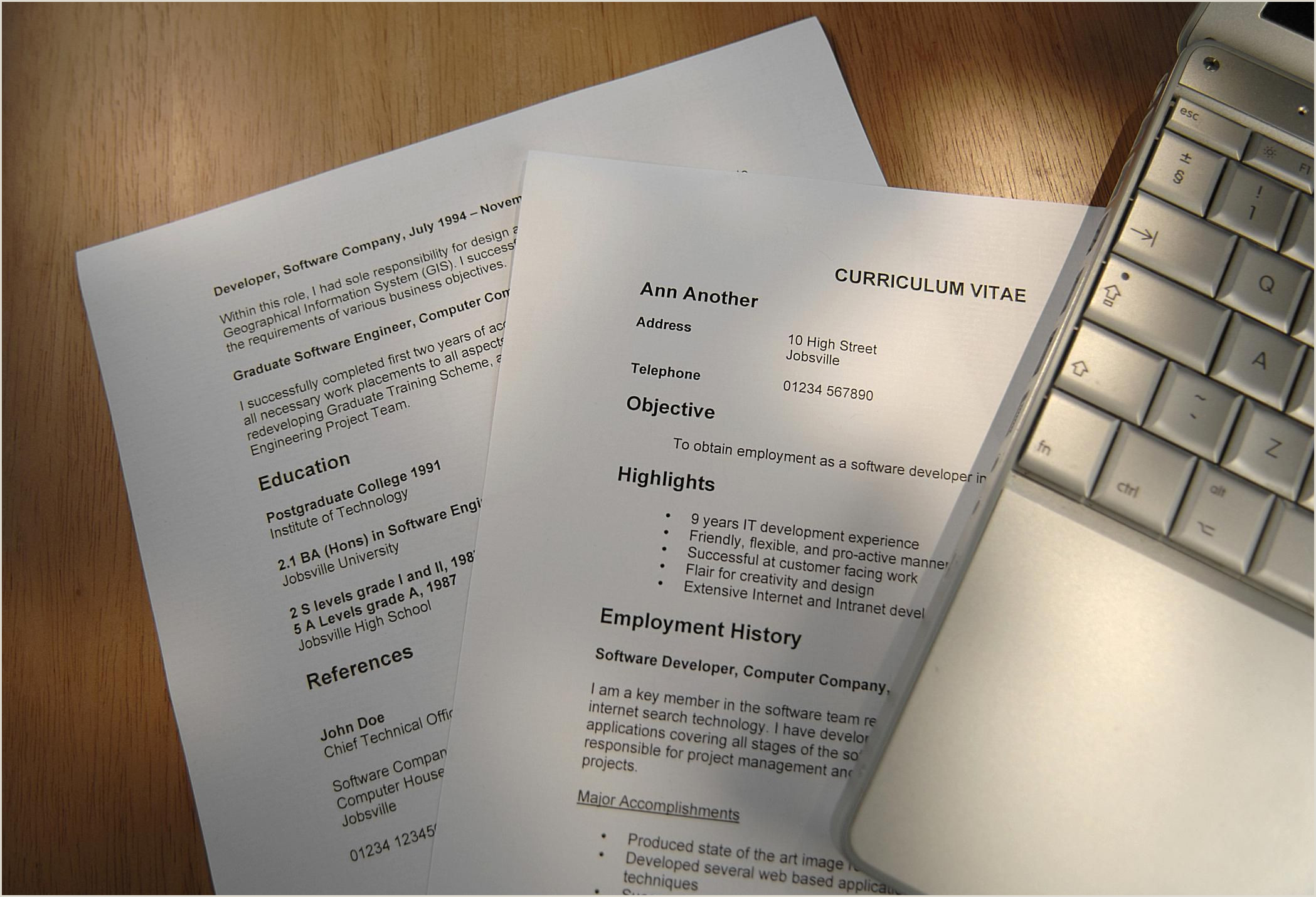 Photo of Standard Cv format for Experienced