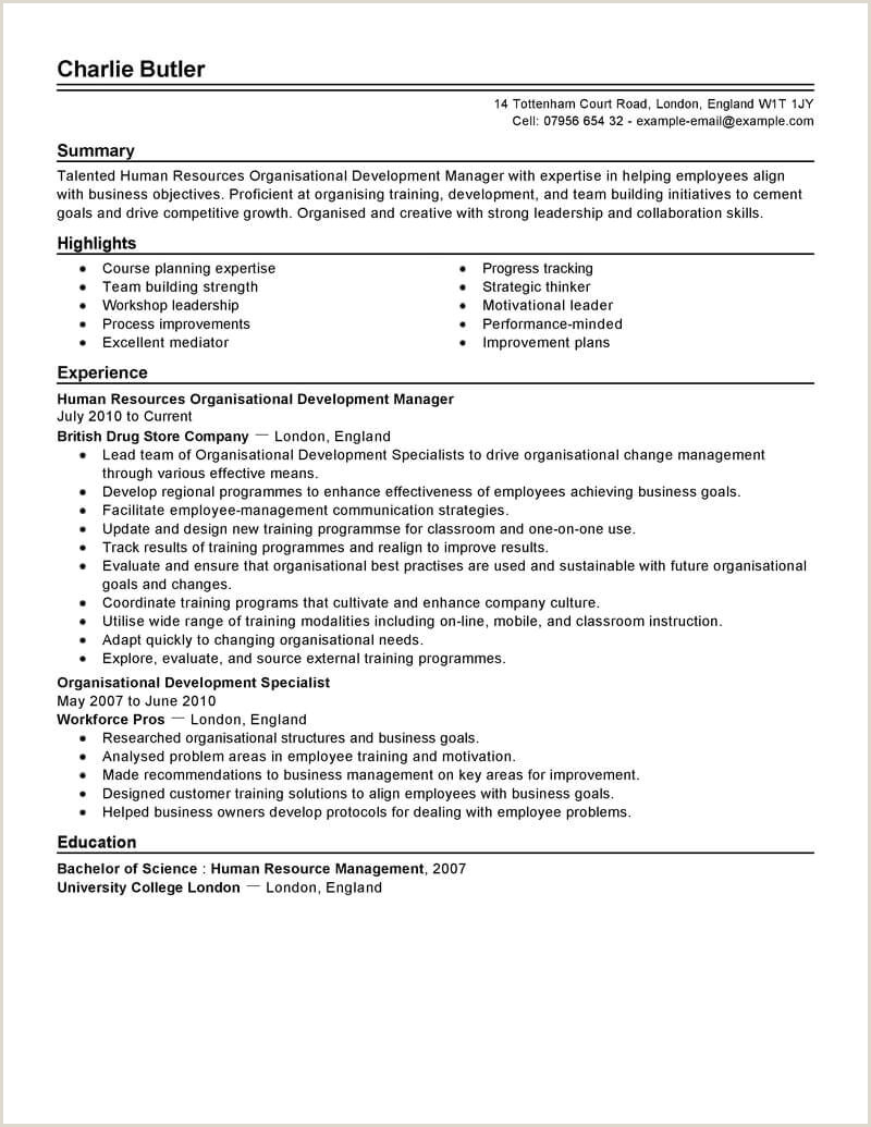 Standard Cv format for Experienced Best organizational Development Resume Example