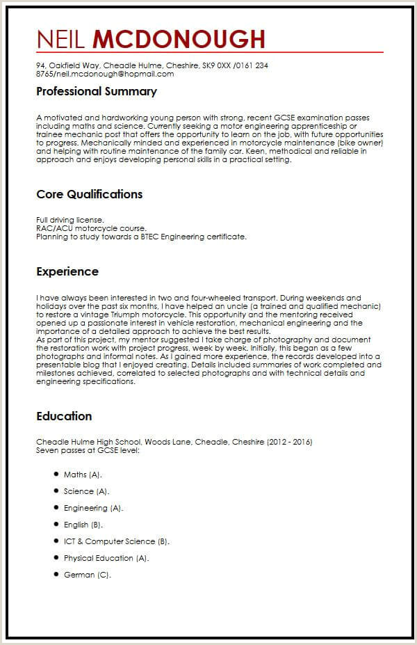 Standard Cv format for Experienced Cv Template Gcse Cv Example for High School Students