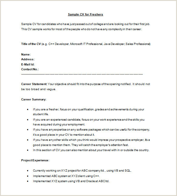 Standard Cv format for Freshers Doc Achievement In Resume for Fresher