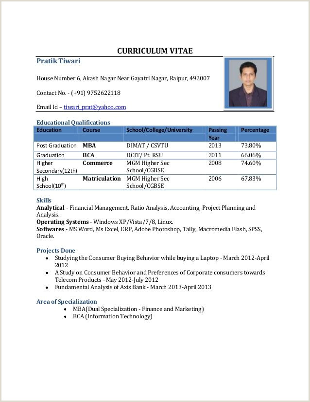 Standard Cv format for Freshers Pdf Cv format for Mba Freshers Free In Word Pdf Bbb
