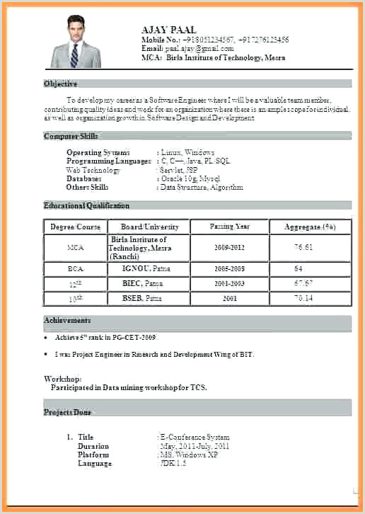 Standard Cv format for Freshers Pdf Ficial Resume format Download Cv Template Pdf Examples