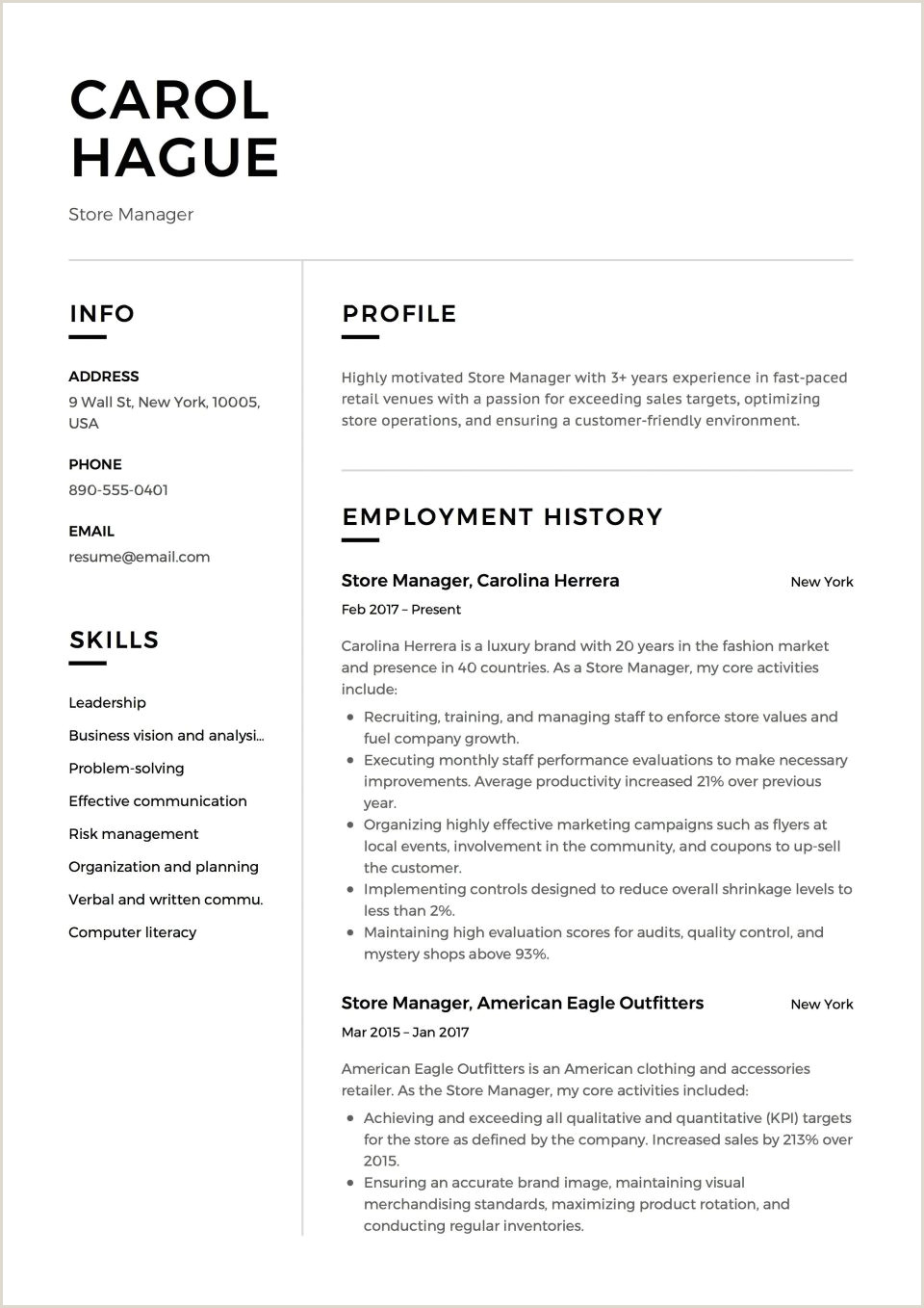 Merchandising Operation Manager Resume Eymir Mouldings Co