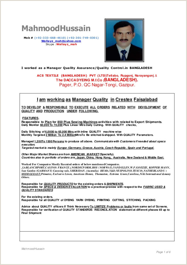 Standard Cv format for Garment Merchandiser Resume format Garment Industry Resume Templates