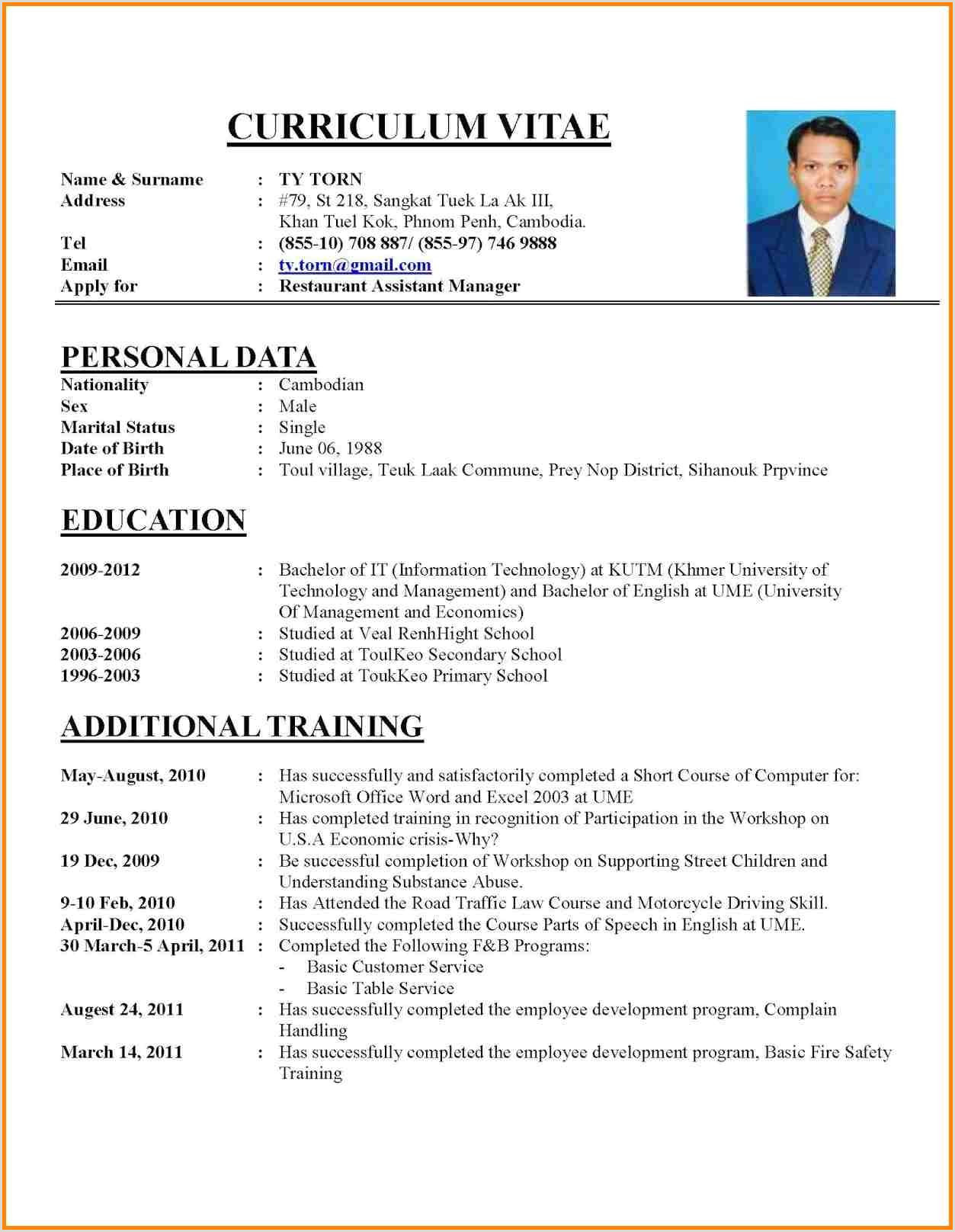 Standard Cv format for It Professional Image Result for Cv format for Job Hairstyles