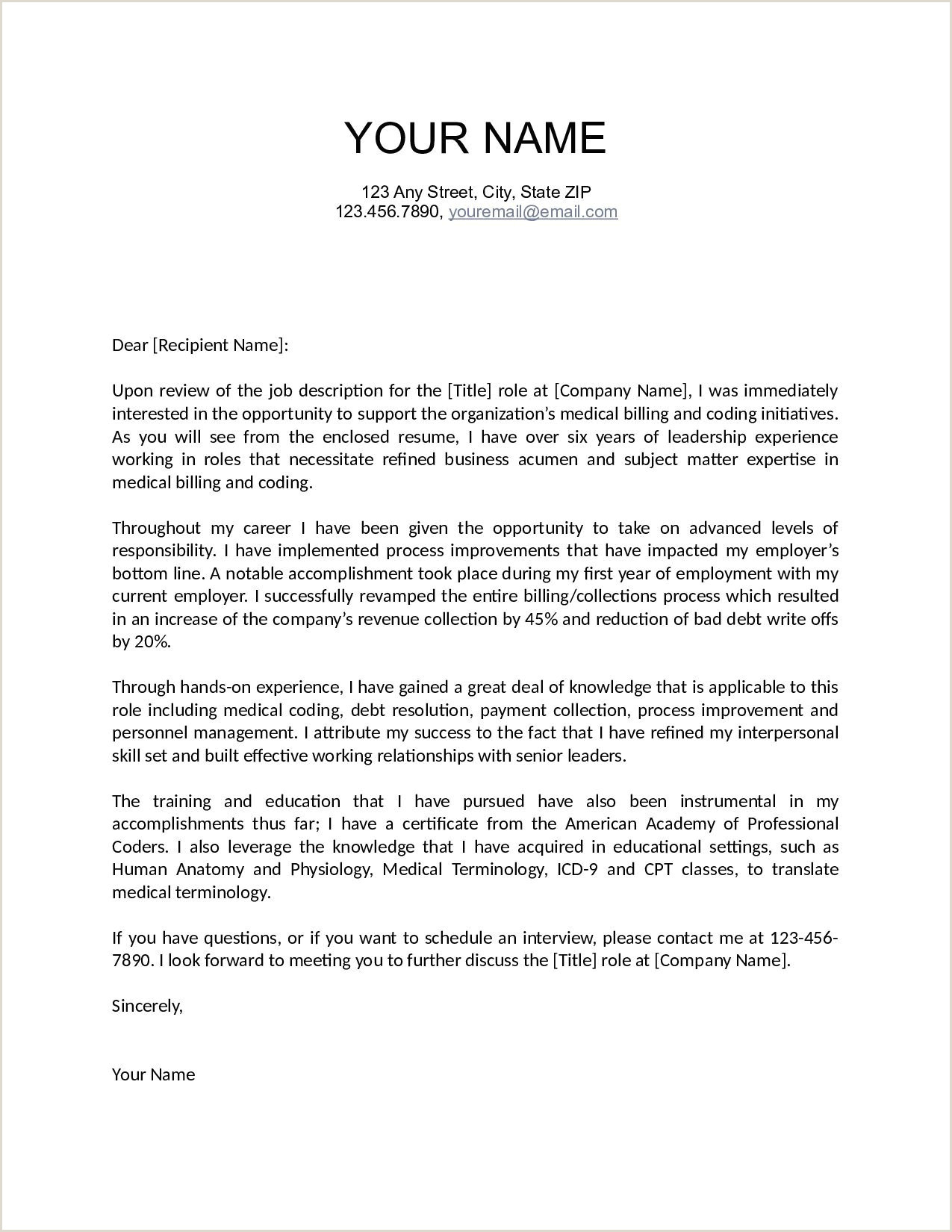 Application Cover Letter Template Collection
