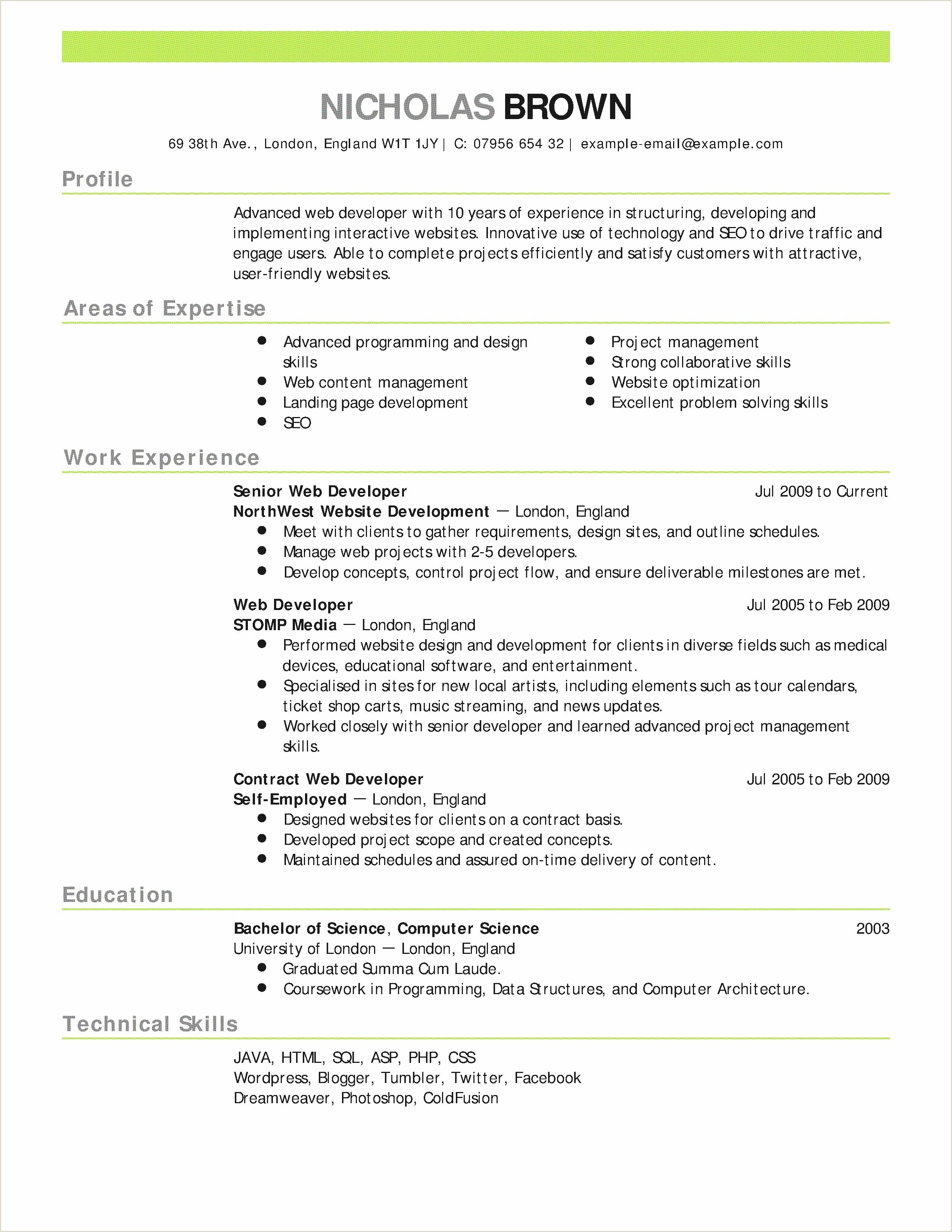 Standard Cv format for Job New Example Curriculum Vitae