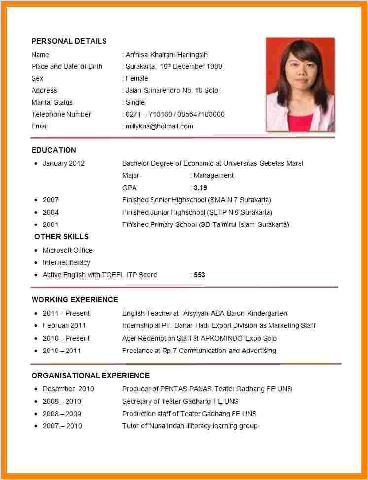 Standard Cv Format For Marriage Cv Template Job Application Resume