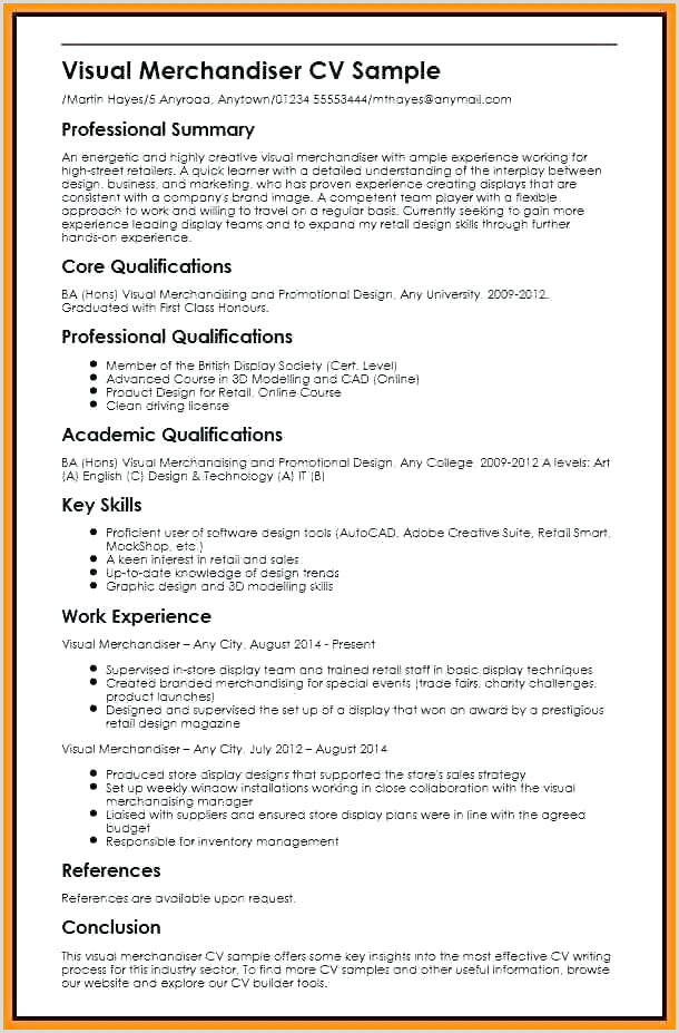 Standard Cv format for Merchandiser Resume Visual Merchandiser – Wikirian