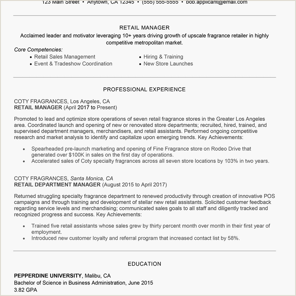 Standard Cv format for Merchandiser Retail Management Cover Letter and Resume Examples
