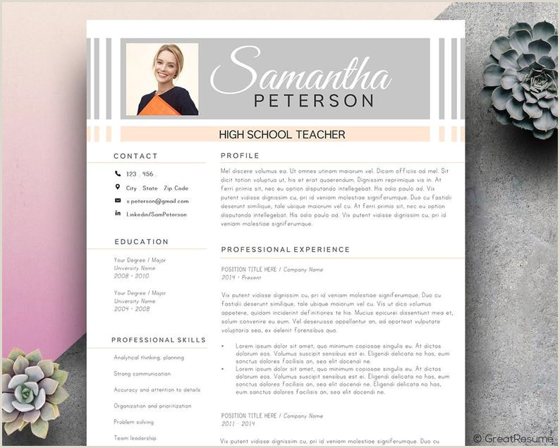 Teacher Resume Template Resume Template with Modern Resume Template Word CV Template for MS Word Resume Template Instant Download Pink