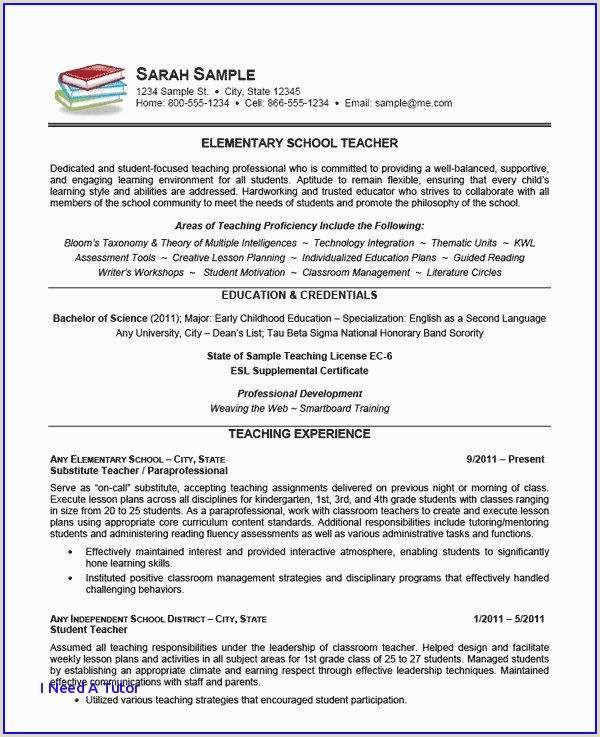 Elementary Education Resume Example Best Child Care Resume