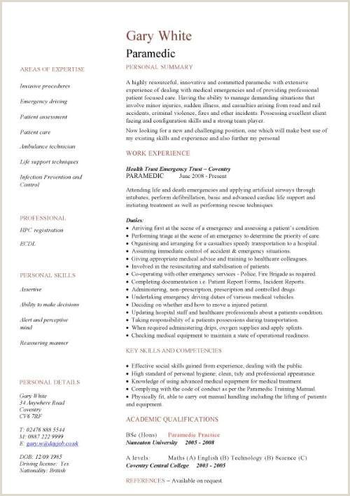 Paramedic CV sample fie