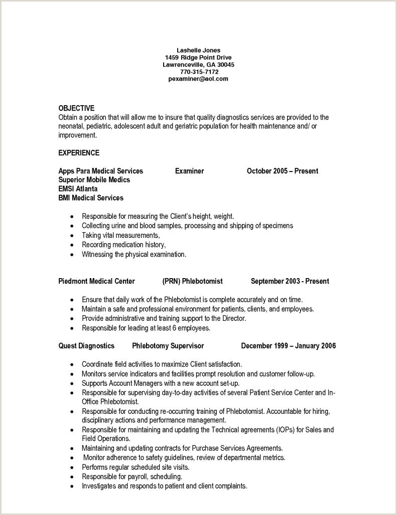 Standard Cv format for University Admission Entry Level Phlebotomy Resume Phlebotomist Objective Free