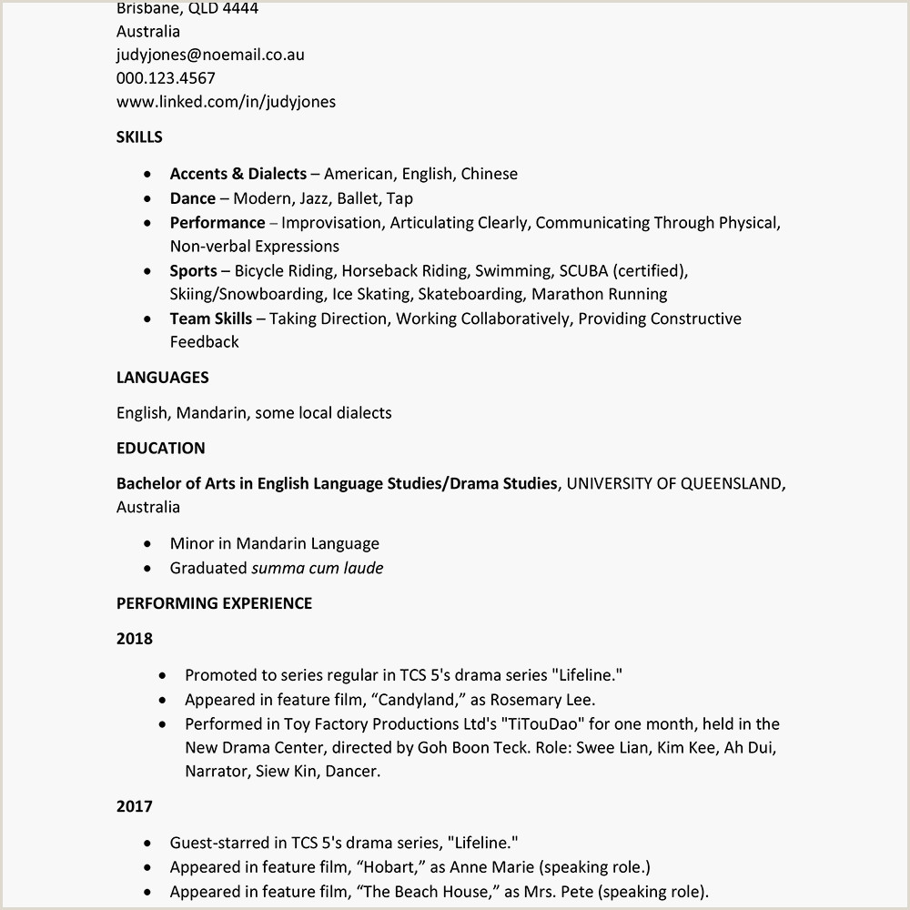 Standard Cv format In Australia International theater Curriculum Vitae Example