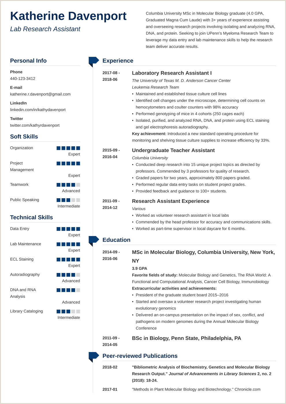 Standard Cv format In Australia Research assistant Resume Sample & Writing Guide 20 Examples