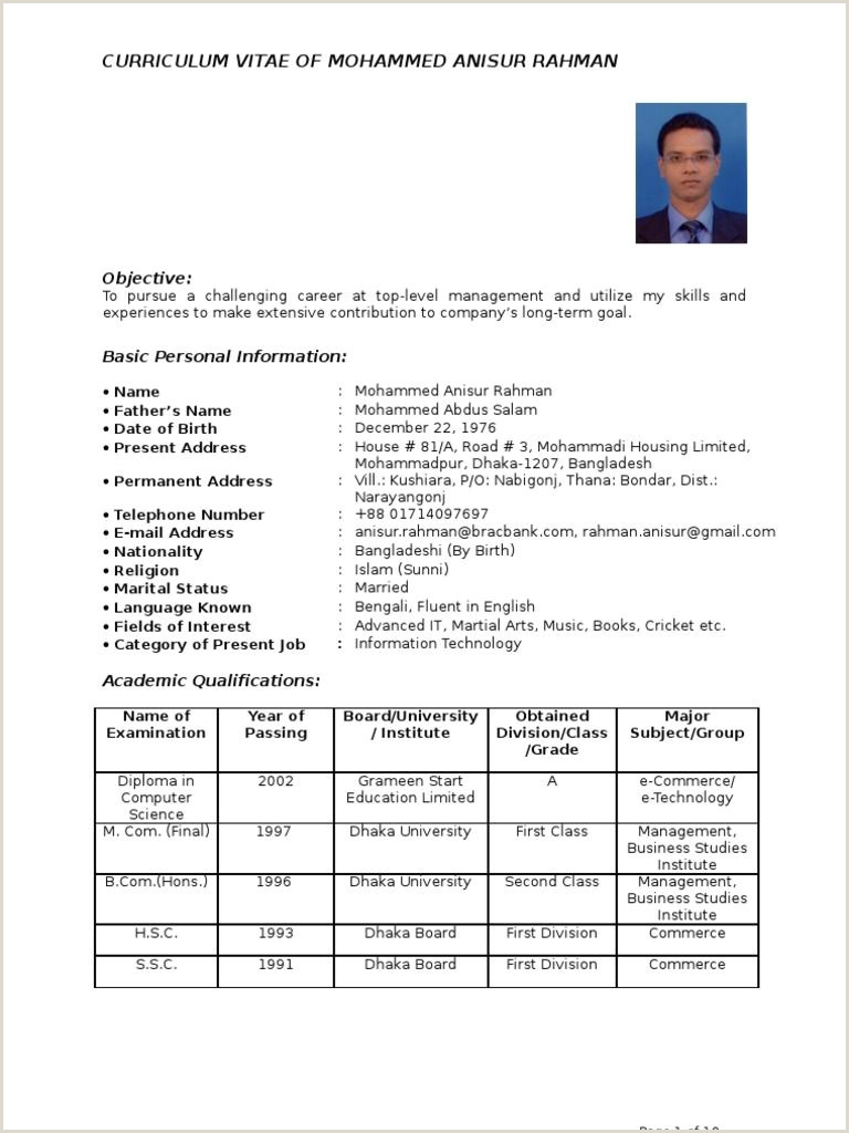 Cv Template Bangladesh Resume format