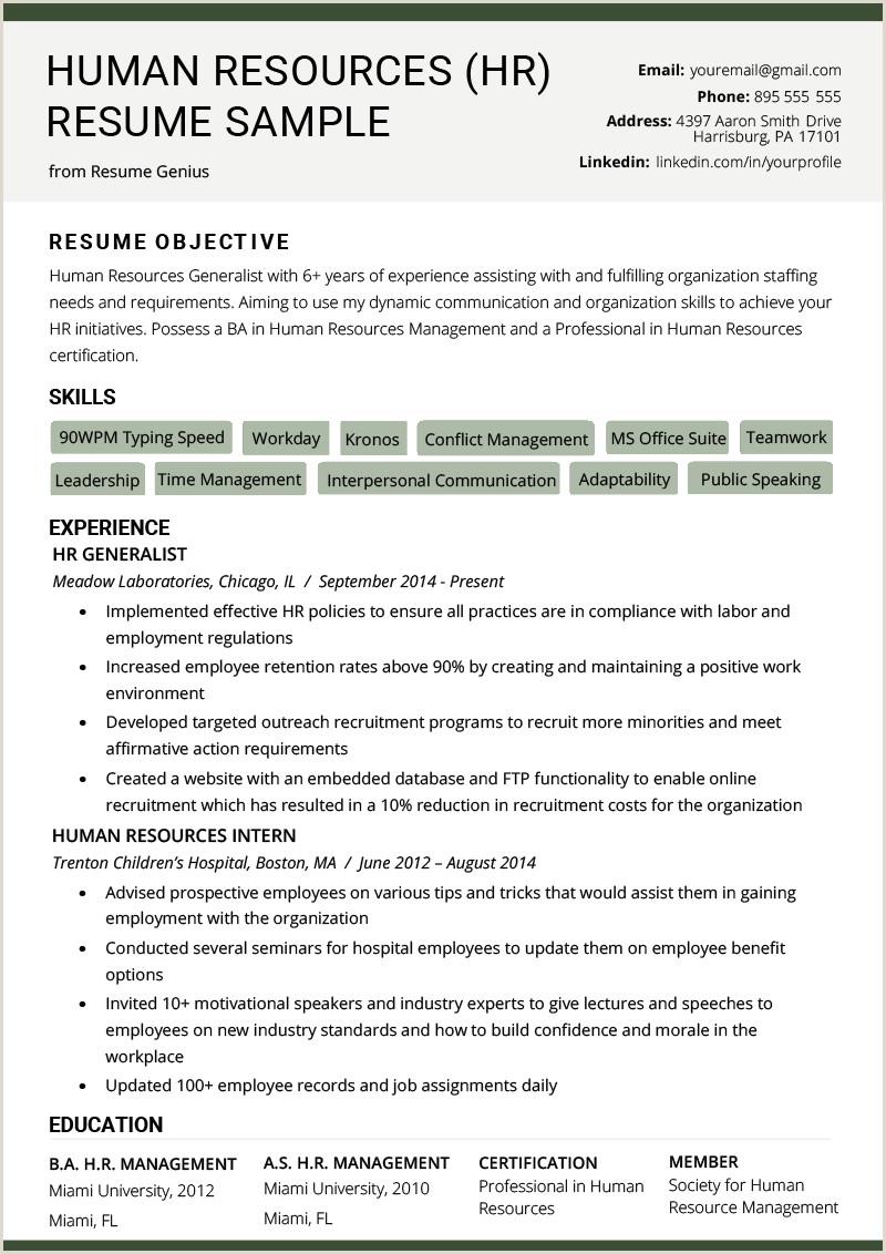 Human Resources HR Resume Sample & Writing Tips