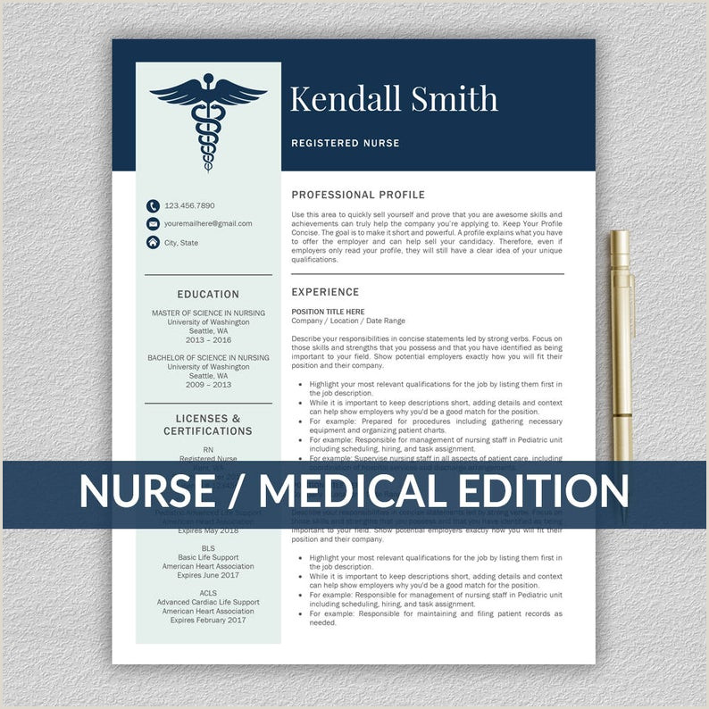 Nurse Resume Template for Word Medical Resume Nurse CV Template RN Resume Doctor Resume Doctor CV
