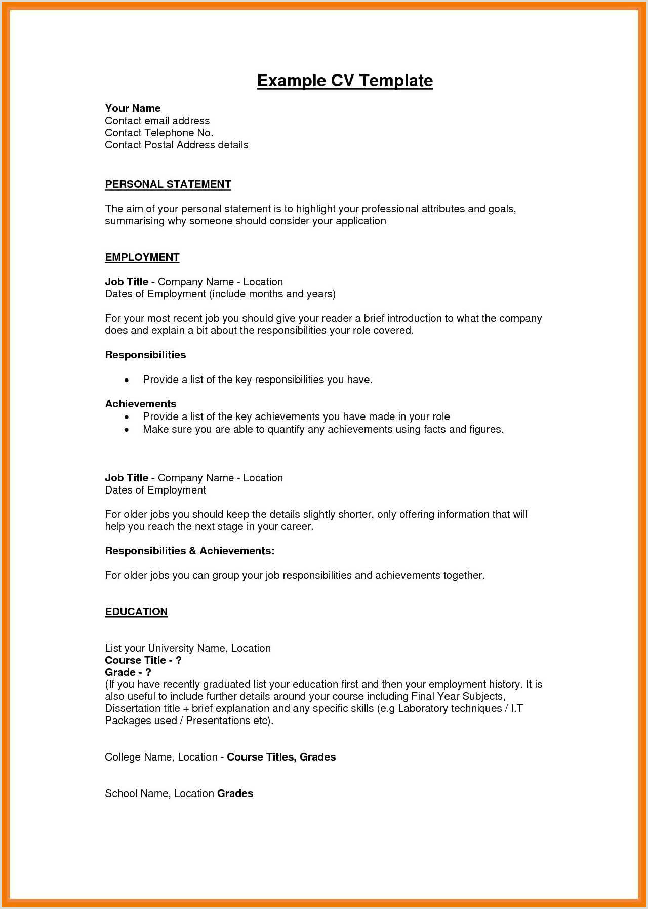 Standard Cv format In Pdf 12 13 Personal Profiles On Resumes