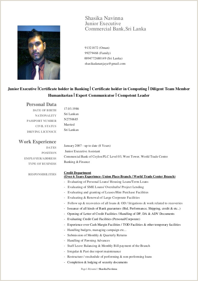 Standard Cv format In Sri Lanka Shasika Cv 2015 Edited Pdf