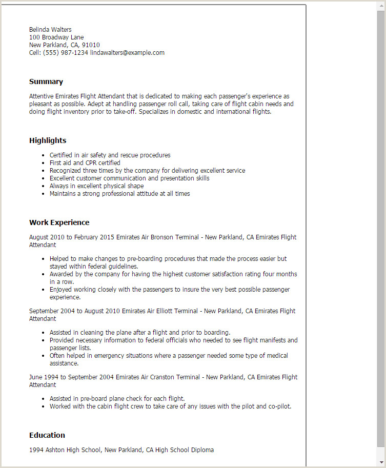Standard Cv format In Uae 1 Emirates Flight attendant Resume Templates Try them now