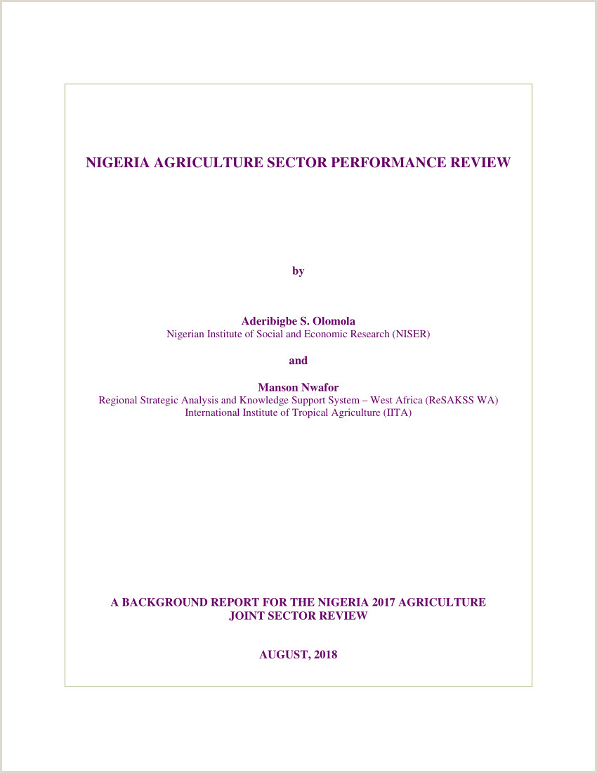 PDF NIGERIA AGRICULTURE SECTOR PERFORMANCE REVIEW 2017