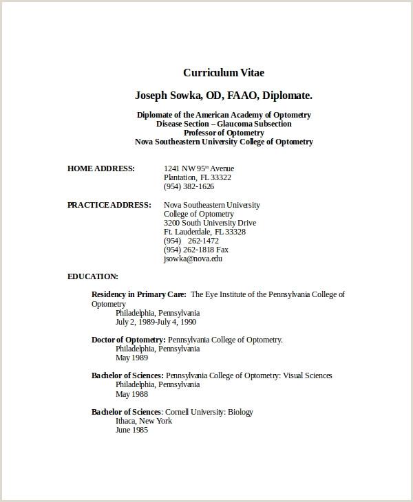Standard Cv format Pdf 2018 Optometrist Resume Template 7 Free Word Pdf Documents