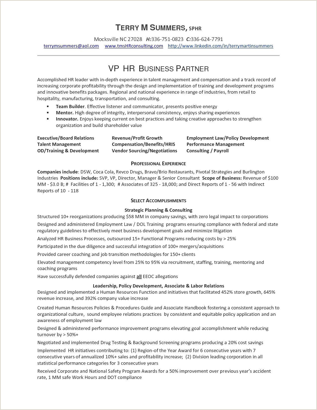 Exemple De Cv En Anglais Pdf Inspirant Sample Hr Resume