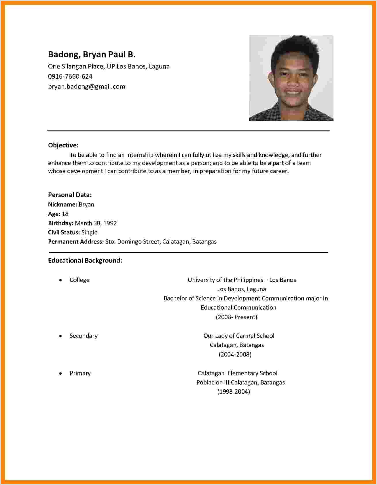 Standard Cv format Pdf File Example Job Application Resume Resume Template
